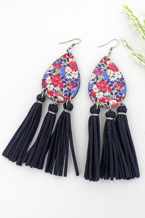 Daisy Collage Wood Teardrop Navy Tassel Fringe Earrings