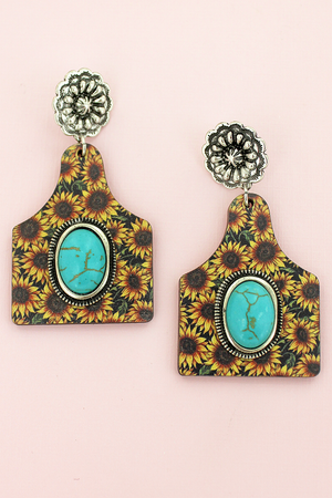 Turquoise Stone & Wild Sunflower Wood Cattle Tag Earrings