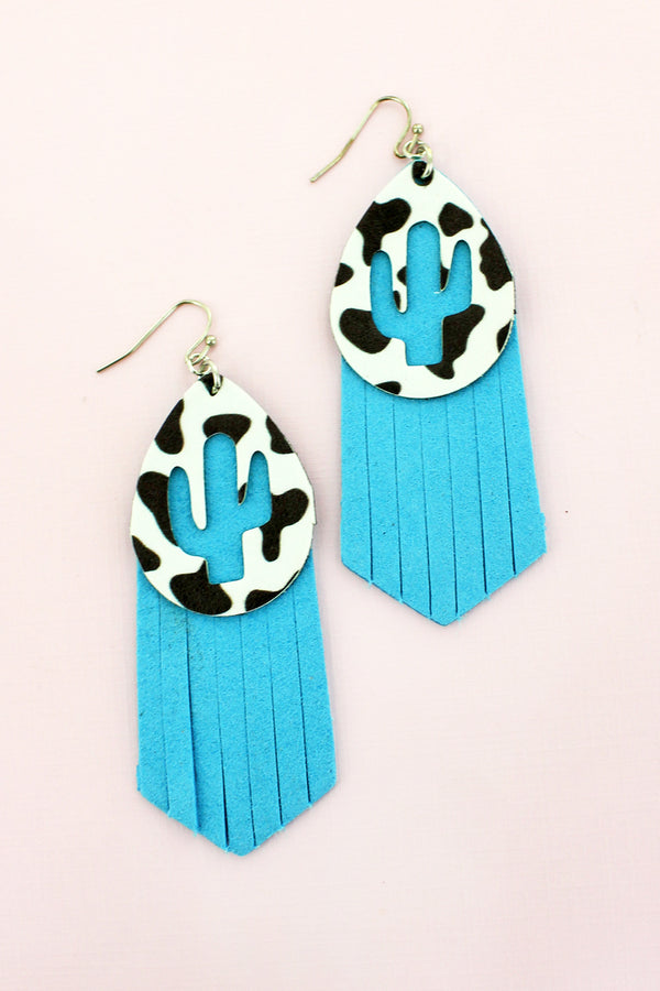 Cut-Out Cactus Cow and Turquoise Faux Leather Layered Earrings