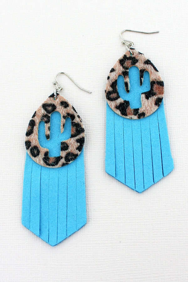 Cut-Out Cactus Leopard and Turquoise Faux Leather Layered Earrings