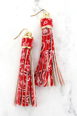 Red Bandana Faux Leather Tassel Earrings