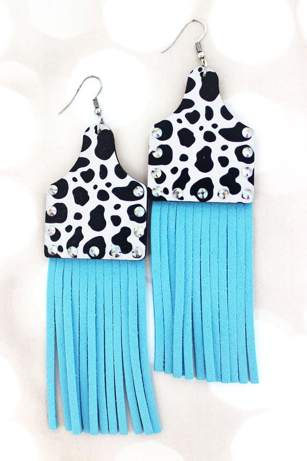 Crystal Cow Wood Cattle Tag Blue Fringe Earrings