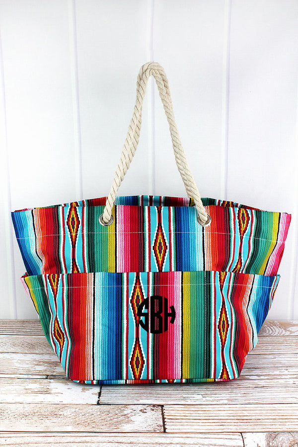 Southwest Serape Rope Handle Beach Tote