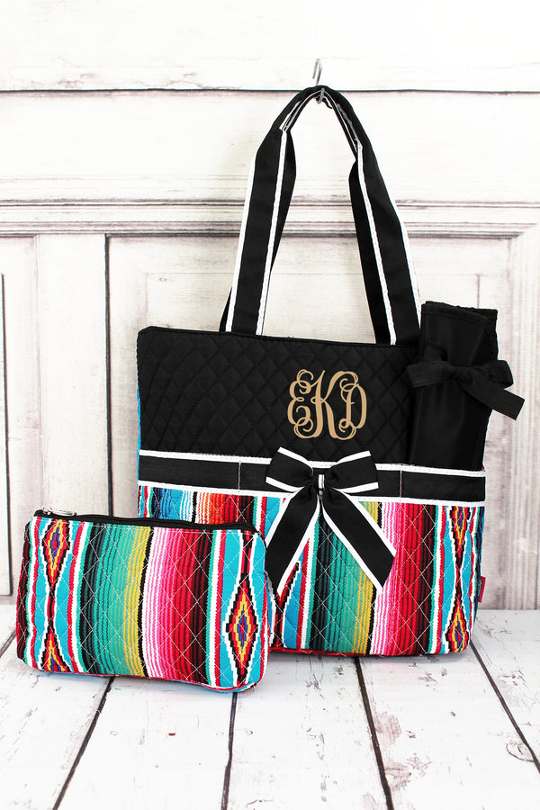 Southwest Serape Quilted Diaper Bag with Black Trim