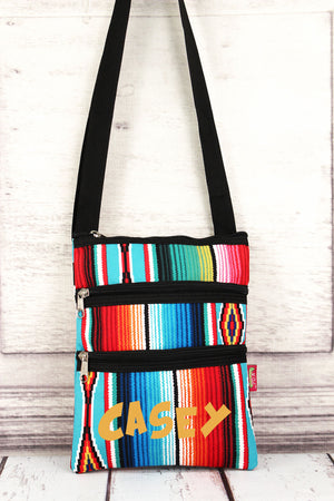 Southwest Serape Crossbody Bag with Black Trim