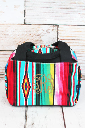 Southwest Serape Insulated Bowler Style Lunch Bag with Black Trim