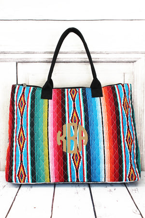 Southwest Serape Quilted Large Shoulder Tote with Black Trim