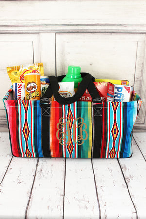 Southwest Serape with Black Trim Collapsible Haul-It-All Basket with Mesh Pockets