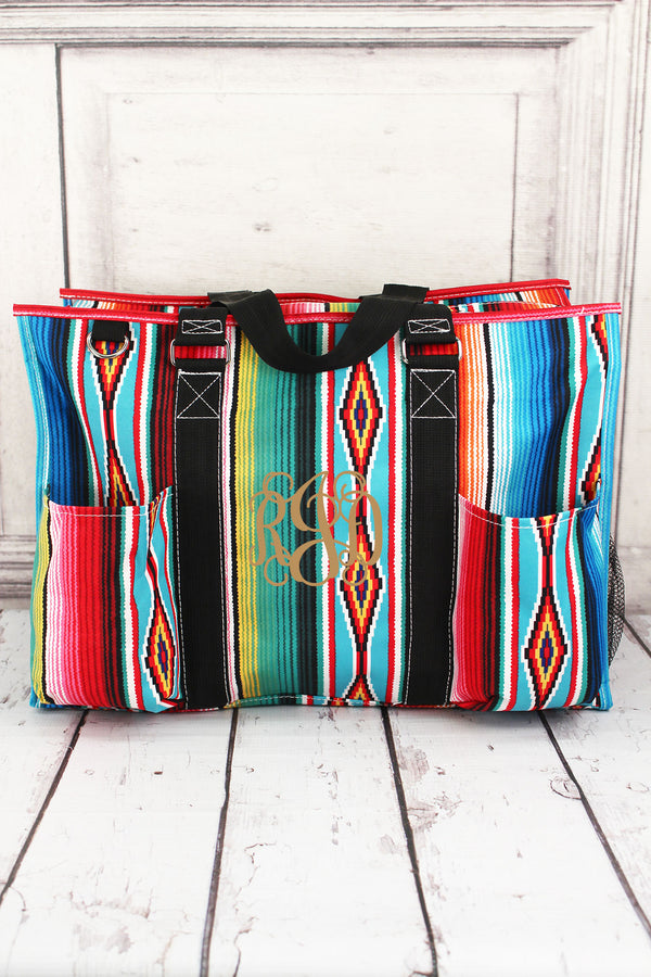 Southwest Serape with Black Trim Large Organizer Tote