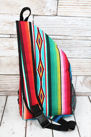Southwest Serape Sling Backpack with Black Trim