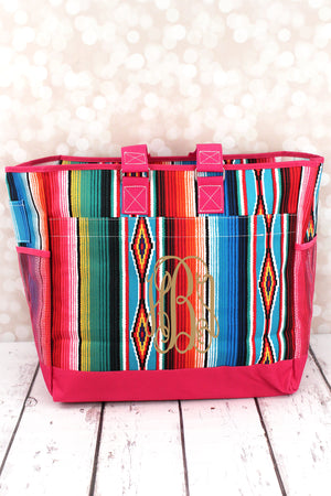 Southwest Serape Everyday Organizer Tote with Hot Pink Trim