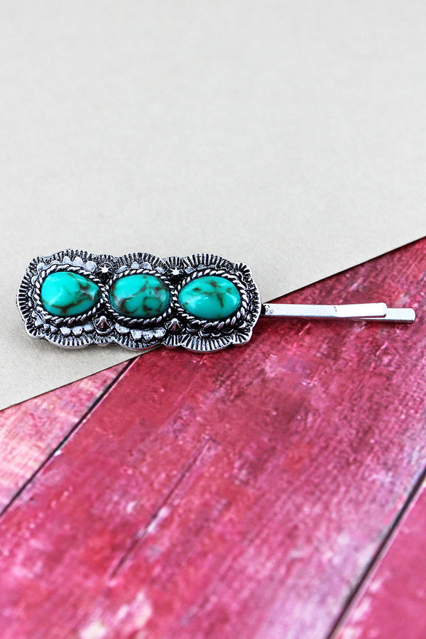 Triple Turquoise Stone and Burnished Silvertone Western Hair Pin