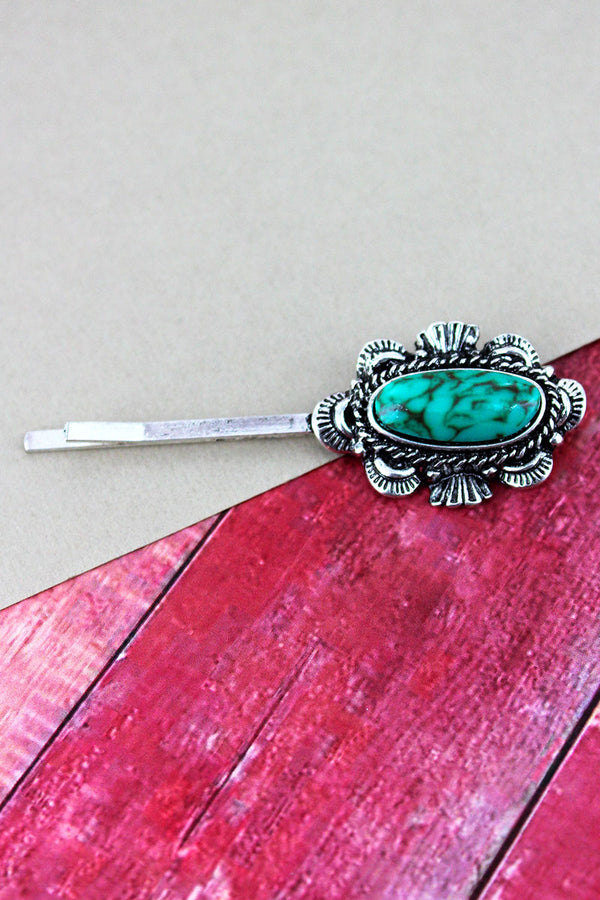 Turquoise Bead and Burnished Silvertone Western Scalloped Oval Hair Pin
