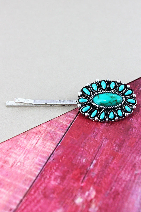 Turquoise Beaded Burnished Silvertone Flower Hair Pin