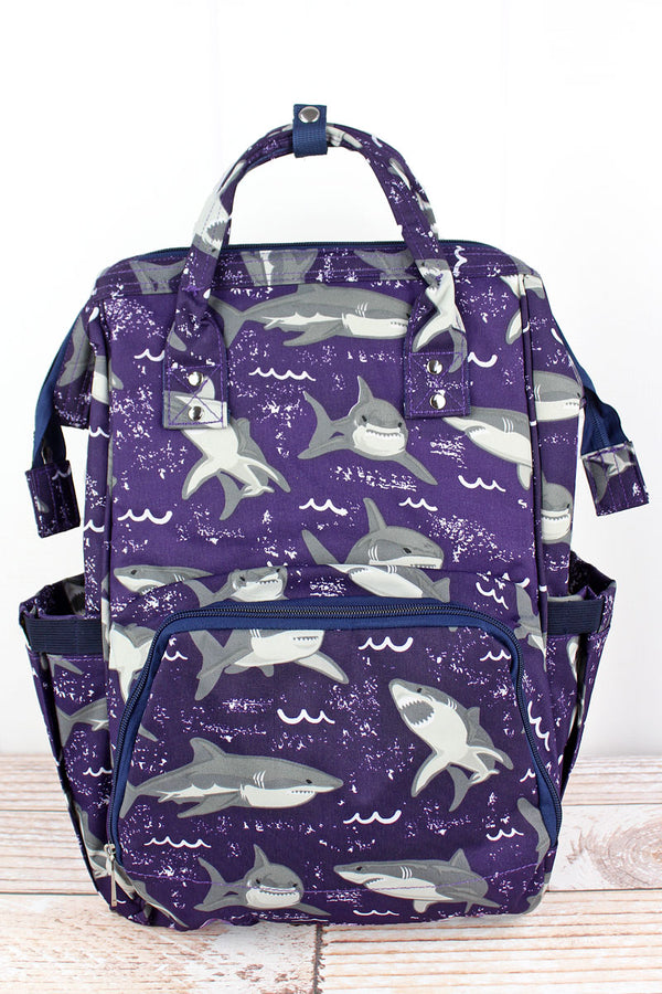 Fintastic Sharks Diaper Bag Backpack
