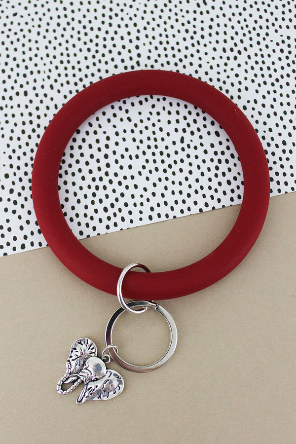 Silvertone Elephant Crimson Silicone Bangle Keychain