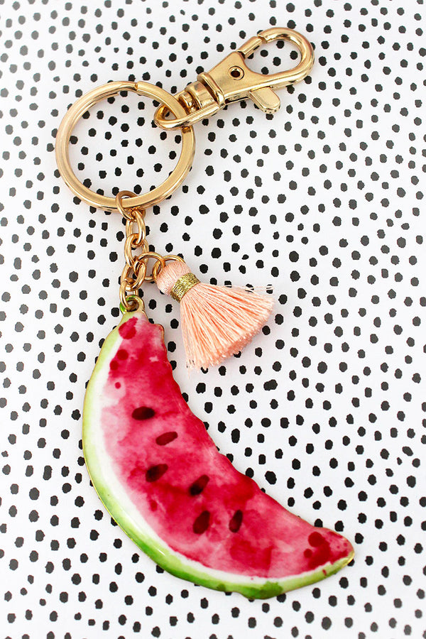 Watermelon with Tassel Charm Goldtone Keychain