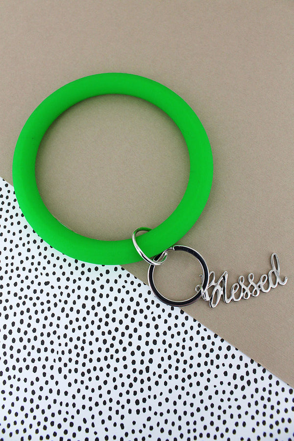 Silvertone 'Blessed' Green Silicone Bangle Keychain