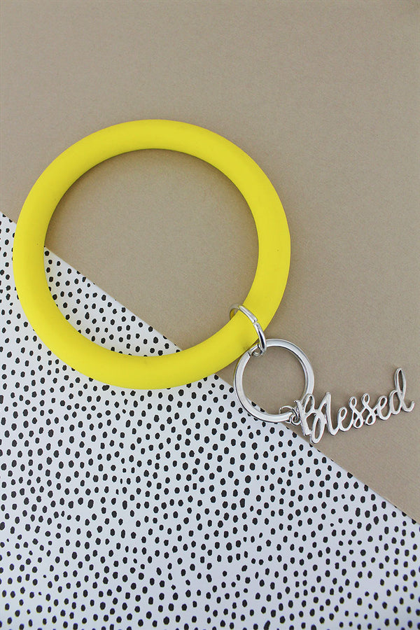 Silvertone 'Blessed' Yellow Silicone Bangle Keychain