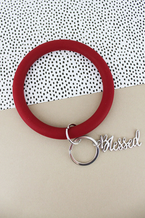 Silvertone 'Blessed' Crimson Silicone Bangle Keychain