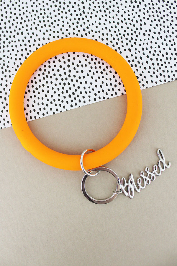 Silvertone 'Blessed' Pumpkin Silicone Bangle Keychain