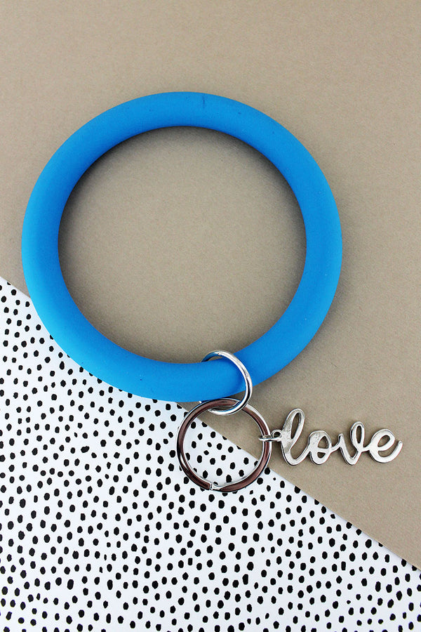 Silvertone 'Love' Blue Silicone Bangle Keychain