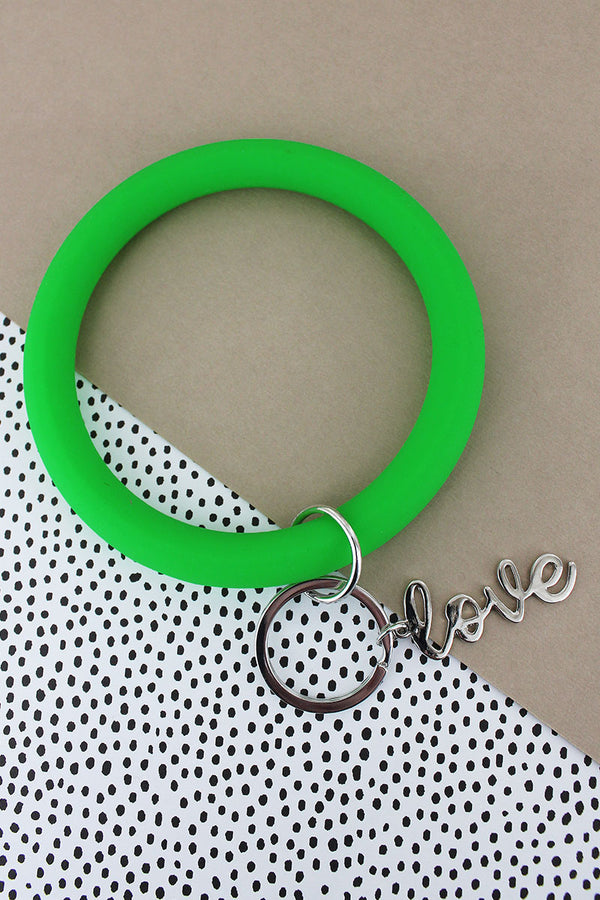 Silvertone 'Love' Green Silicone Bangle Keychain