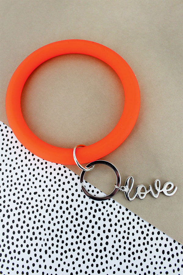 Silvertone 'Love' Orange Silicone Bangle Keychain