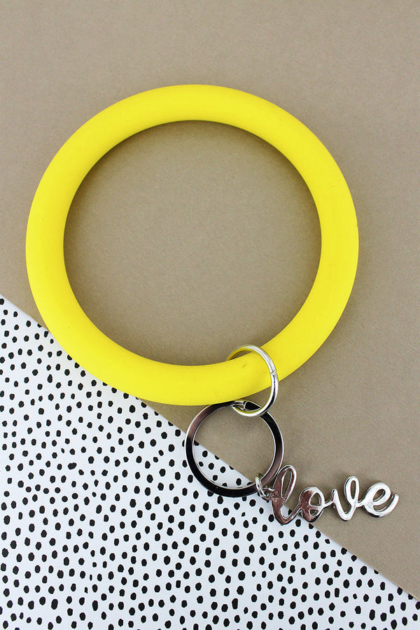 Silvertone 'Love' Yellow Silicone Bangle Keychain