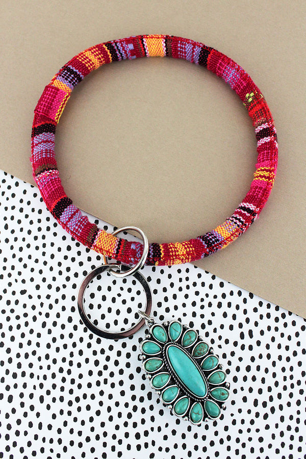 Turquoise Beaded Oval Red Serape Bangle Keychain