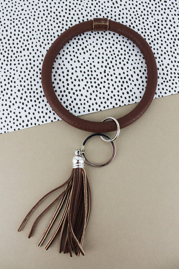 Brown Faux Leather Tassel Bangle Keychain