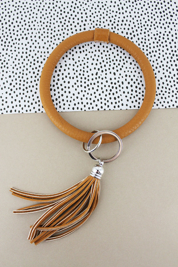 Tan Faux Leather Tassel Bangle Keychain