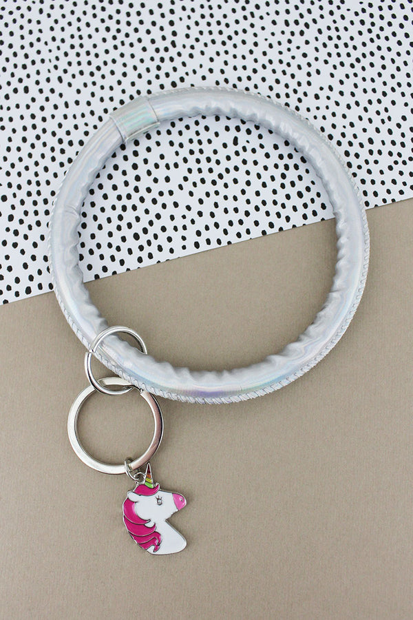 Unicorn Silver Faux Patent Leather Bangle Keychain