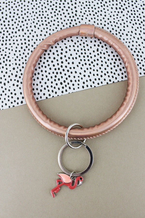 Flamingo Rose Gold Faux Patent Leather Bangle Keychain