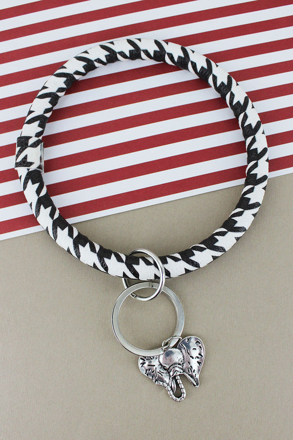 Silvertone Elephant Houndstooth Bangle Keychain