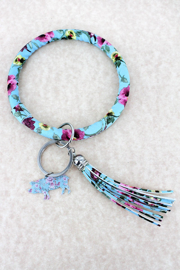 Faux Leather Vintage Flowers Blue Pig Tassel Bangle Keychain