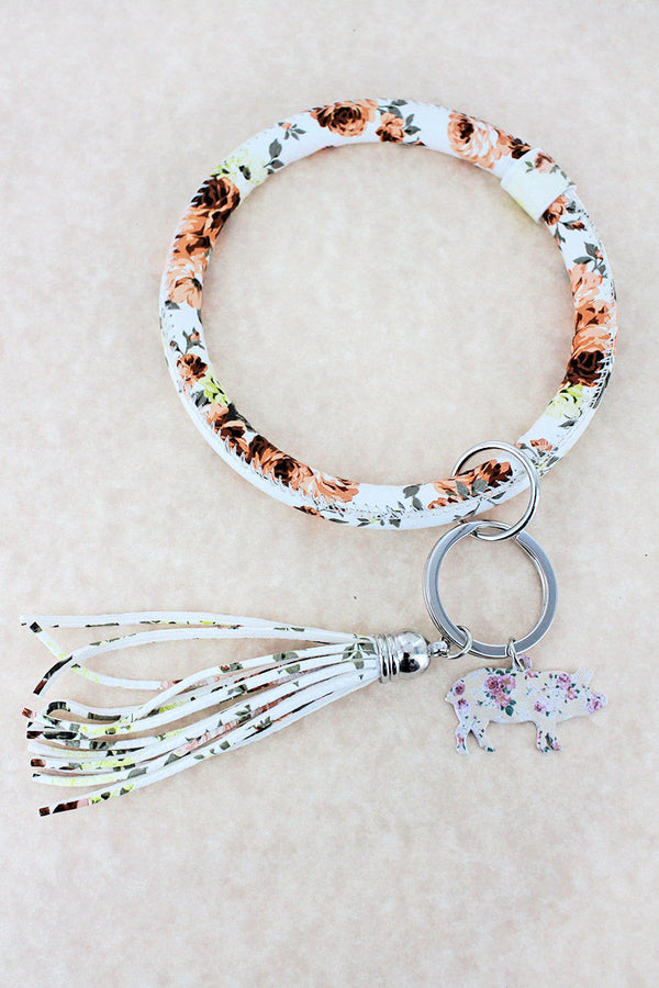 Faux Leather Vintage Flowers Ivory Pig Tassel Bangle Keychain