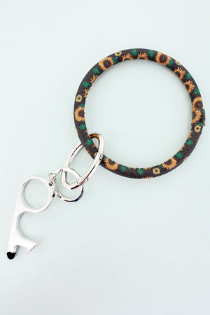 Sunflowers Black No Touch Stylus Bangle Keychain