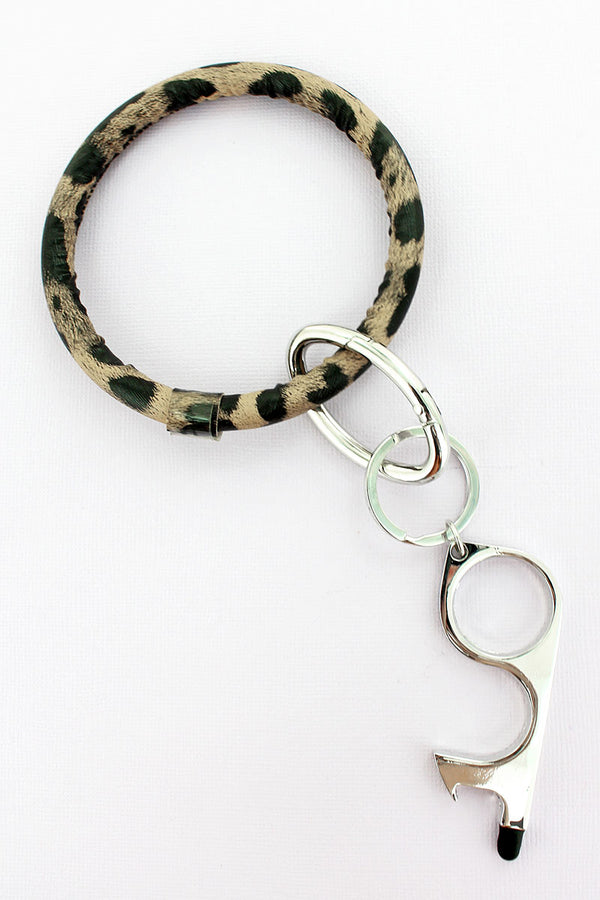 Leopard No Touch Stylus Bangle Keychain
