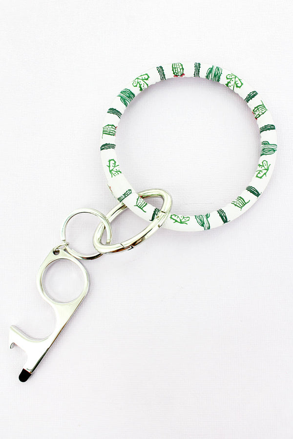 Cactus No Touch Stylus Bangle Keychain