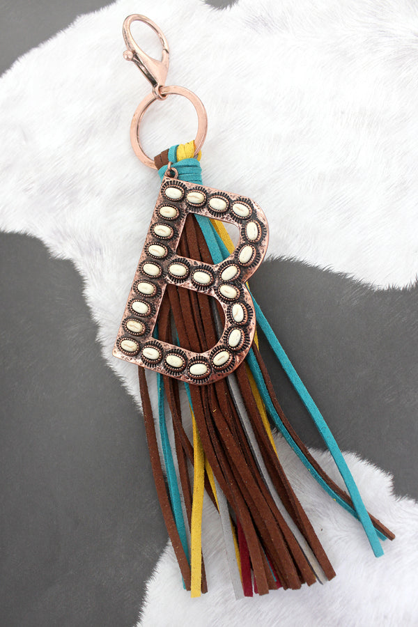 White Beaded Coppertone 'B' Initial Tassel Keychain