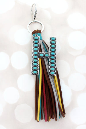 Turquoise Beaded Silvertone 'H' Initial Tassel Keychain