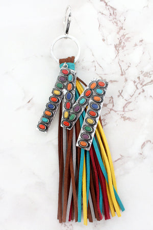 Multi-Color Beaded Silvertone 'M' Initial Tassel Keychain