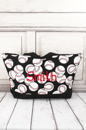 Baseball with Black Trim Large Tote Bag