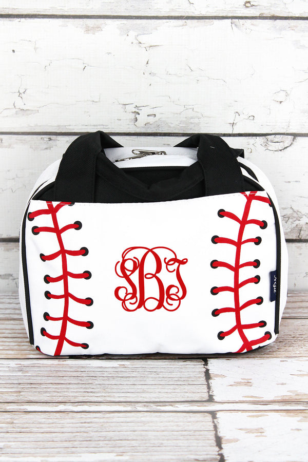 Baseball Laces Insulated Bowler Style Lunch Bag