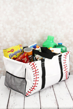Baseball Laces Collapsible Haul-It-All Basket with Mesh Pockets