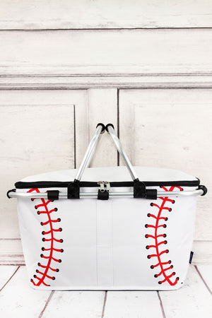 Baseball Laces Collapsible Insulated Market Basket with Lid