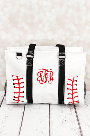 Baseball Laces Utility Tote with Black Trim