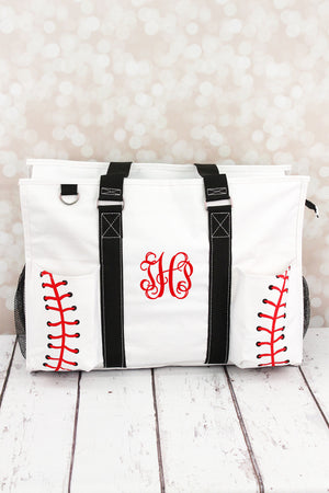 Baseball Laces with Black Trim Large Organizer Tote