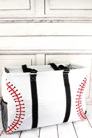 Baseball Laces Collapsible Double Haul-It-All Basket with Mesh Pockets and Lid